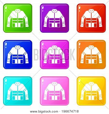 Firefighter jacket icons of 9 color set isolated vector illustration