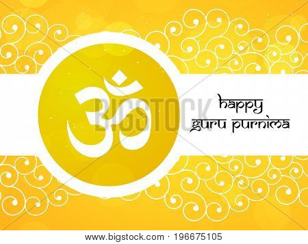 illustration of om sacred sound with happy Guru Purnima text on the occasion of Guru Purnima festival in India