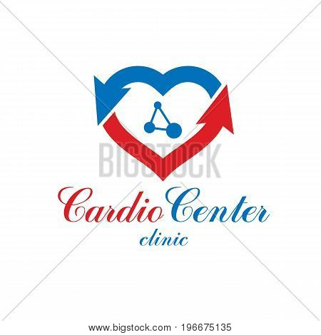 Vector heart shape logo created with wireframe connections mesh. Scientific research and cardiology metaphor. Cardiovascular illness treatment concept for use as cardio center emblem.