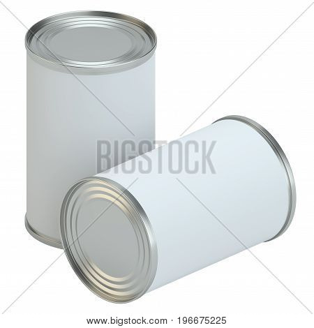 White Blank Metal Tin Can. Ready For Your Design. Product Packing. 3D Illustration