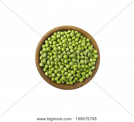 fresh green pea in the pod isolated on white background. Top view. Green pea with copy space for text.