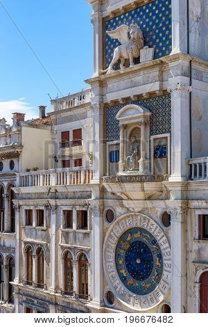 Ancient Clock tower (Torre dell'Orologio) in the St. Mark's Square in Venice, Italy