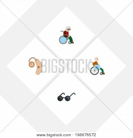 Flat Icon Handicapped Set Of Spectacles, Handicapped Man, Wheelchair Vector Objects