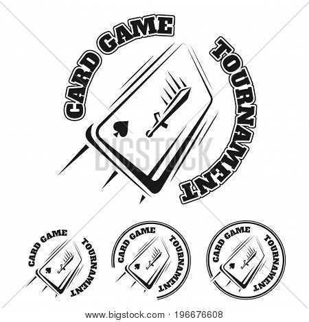Poker and casino set of vector black gambling labels . Vector logo on the theme of board games. Emblem of the card game. Isolated icons on white background.