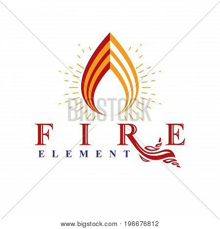 The power of burning fire nature element vector logo for use in petrol and gas advertising.