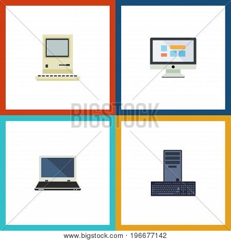 Flat Icon Computer Set Of Computing, Display, Processor And Other Vector Objects