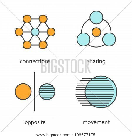 Abstract symbols color icons set. Sharing, connections, opposite, movement concepts. Isolated vector illustrations