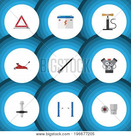 Flat Icon Service Set Of Pipeline, Accumulator, Muffler And Other Vector Objects