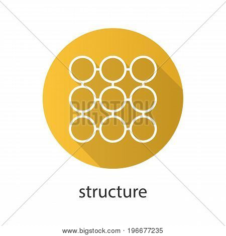 Structure symbol flat linear long shadow icon. Composition abstract metaphor. Vector outline symbol