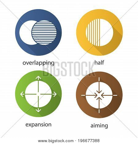 Abstract symbols flat design long shadow glyph icons set. Overlapping, half, aiming, expansion concepts. Vector silhouette illustration