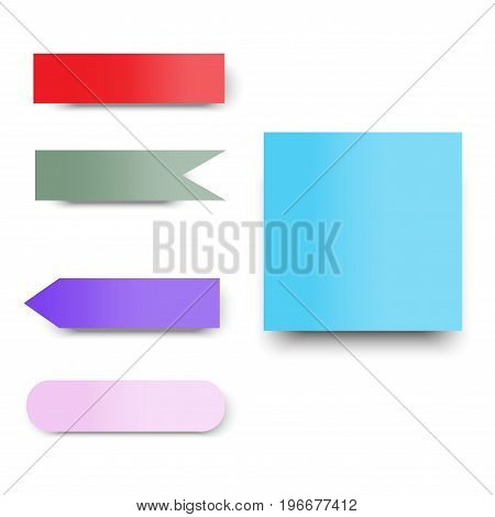 red green blue purple pink color paper note in flag and rectangular for business office memo or reminder vector background