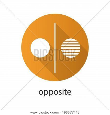 Opposite symbol flat design long shadow glyph icon. Opponents abstract metaphor. Vector silhouette illustration