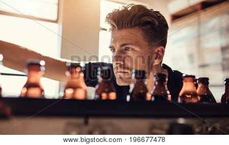 Man Examining The Beer Bottles On Conveyor At Brewery Factory