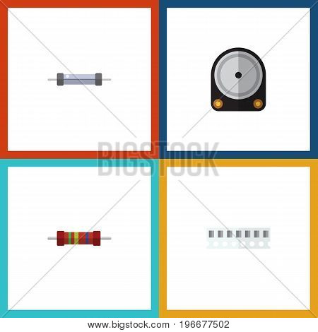 Flat Icon Electronics Set Of Memory, Hdd, Resistor And Other Vector Objects