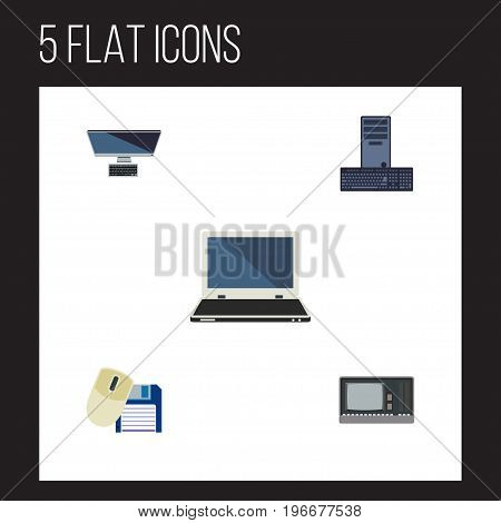 Flat Icon Computer Set Of Computer Mouse, Vintage Hardware, Processor And Other Vector Objects