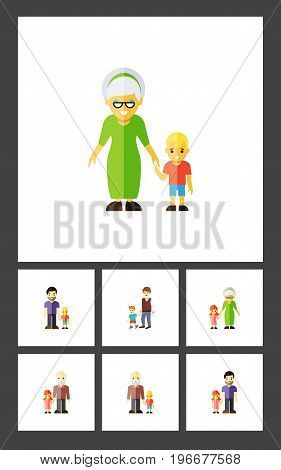Flat Icon People Set Of Grandpa, Grandson, Grandma Vector Objects