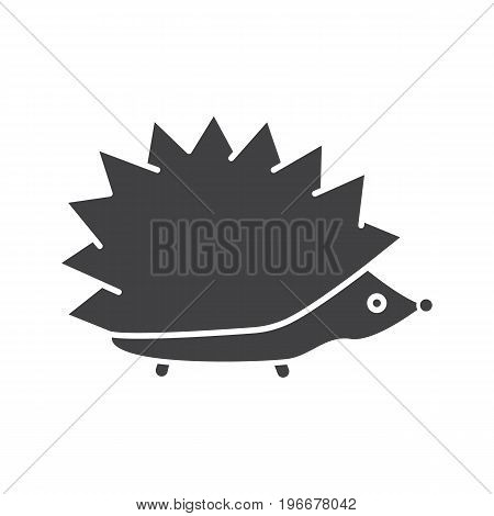 Hedgehog glyph icon. Silhouette symbol. Urchin. Negative space. Vector isolated illustration