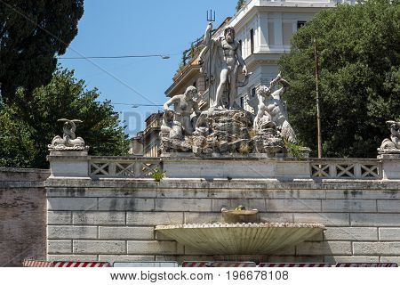 ROME, ITALY - JUNE 22, 2017: Amazing view to Fountain of Neptune at Piazza del Popolo in city of Rome, Italy