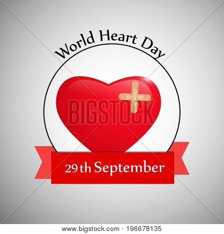 illustration of heart with World Heart Day text 29th September text on the occasion of World Heart Day
