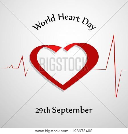 illustration of heart design with World Heart Day 29th September text on the occasion of World Heart Day