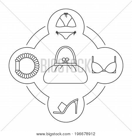 Woman's purse contents linear icons set. Hair scrunchy, high heel shoe, bra, swimsuit. Isolated vector illustrations