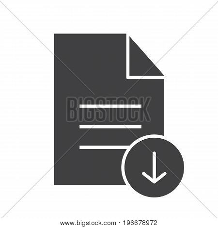 Download document glyph icon. Silhouette symbol. Text file with download arrow. Negative space. Vector isolated illustration