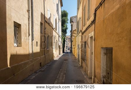 Narrow street in ancient town Aix-en-Provence, Provence region. France