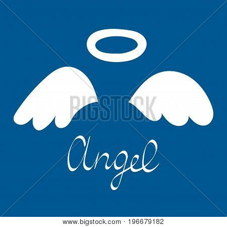 Cartoon Angel wings and halo. Vector illustration