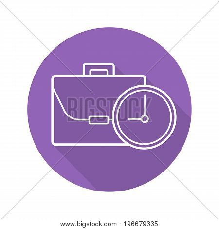 Work time flat linear long shadow icon. Business briefcase with clock. Vector outline symbol