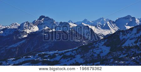 Winter landscape in the Bernese Oberland. View from mount Rellerli.
