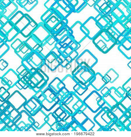 Seamless abstract geometrical square background pattern - vector illustration from diagonal rounded squares in cyan tones with shadow effect