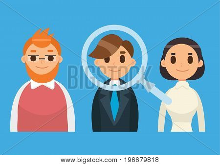 Headhunting and Recruitment illustration with candidate people. Flat icon vector illustration.
