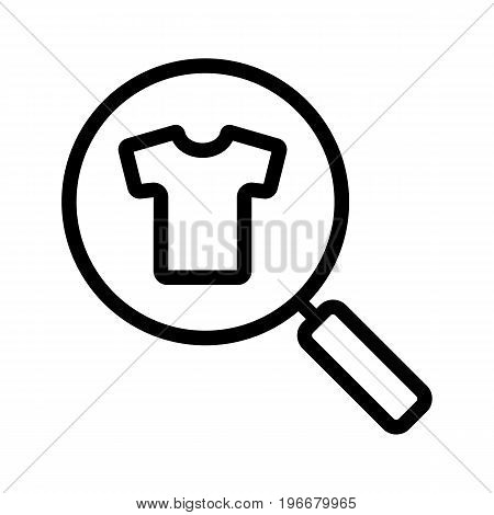 Clothes search linear icon. Thick line illustration. Magnifying glass with t-shirt contour symbol. Vector isolated outline drawing