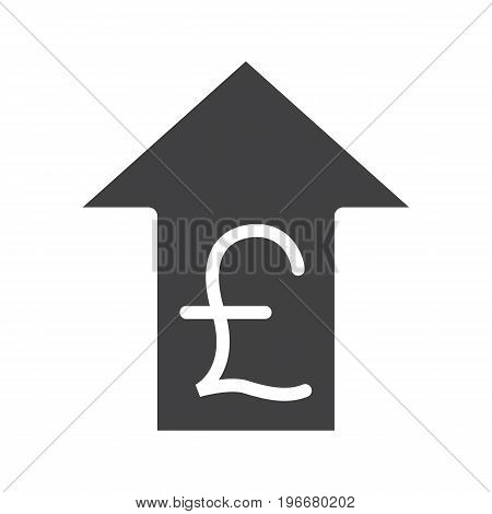Pound rate rising glyph icon. Silhouette symbol. Great Britain pound with up arrow. Negative space. Vector isolated illustration