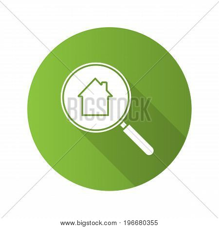 Real estate search flat design long shadow glyph icon. Looking for apartment. House hunt. Magnifying glass with building inside. Vector silhouette illustration