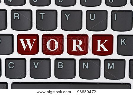 Remote working on the internet A close-up of a keyboard with red highlighted text Work 3D Illustration