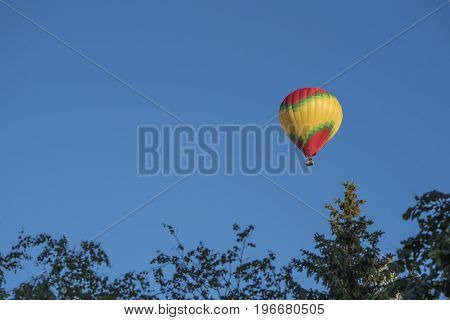 Bright hot air balloon flies in a clear blue sky over the trees