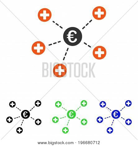 Euro Medical Links vector pictograph. Illustration style is a flat iconic colored symbol with different color versions.