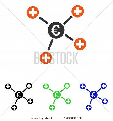 Euro Medical Links vector pictogram. Illustration style is a flat iconic colored symbol with different color versions.