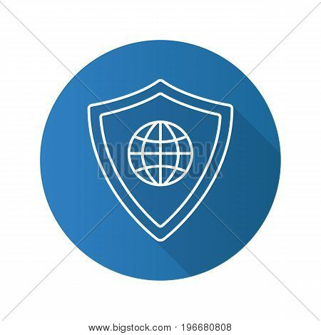 Network security flat linear long shadow icon. Protection shield with globe model. Vector outline symbol