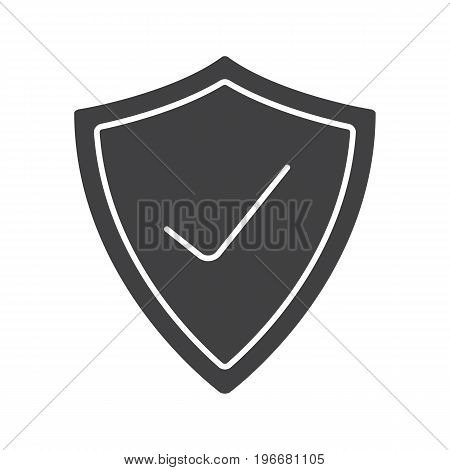 Security check glyph icon. Silhouette symbol. Protection shield with tick mark. Negative space. Vector isolated illustration