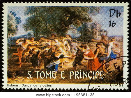 Moscow Russia - July 23 2017: A stamp printed in Sao Tome and Principe shows painting Rondo by Rubens series