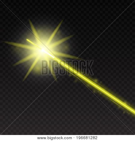Abstract yellow laser beam. Magic neon light lines isolated on checkered background. Vector illustration