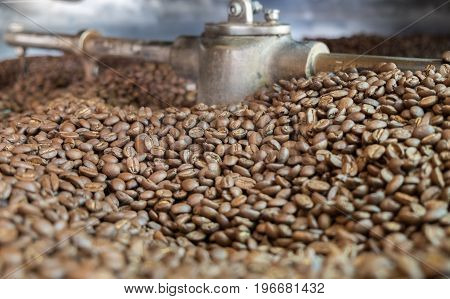 Light Roasted Coffee Beans In A Coffee Roaster