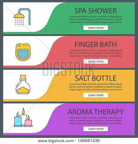 Spa salon web banner templates set. Shower, bath, salt bottle, aromatherapy candles. Website color menu items. Vector headers design concepts