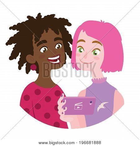 Friend is sharing video to a friend. Vector illustration of international friendship in flat cartoon style on a white background. Two pretty smiling young teenage girls watching film using a smart phone.