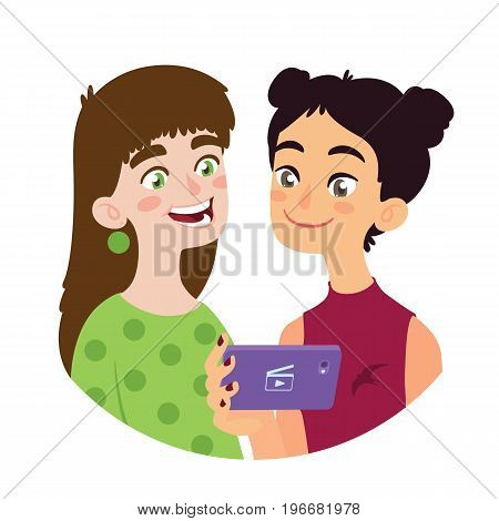 Asian girl is sharing video to a european girl. Two smiling young friends of different culture having fun. Watching video clip using a smart phone. Vector illustration of international friendship in flat cartoon style on a white background.