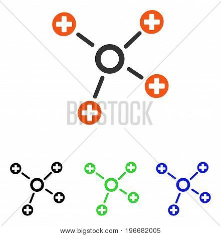 Health Care Links vector pictograph. Illustration style is a flat iconic colored symbol with different color versions.