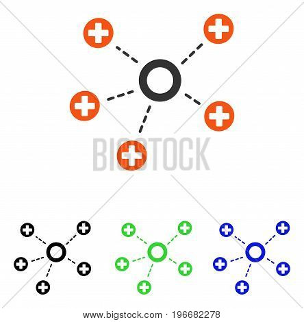 Medical Connections vector pictograph. Illustration style is a flat iconic colored symbol with different color versions.