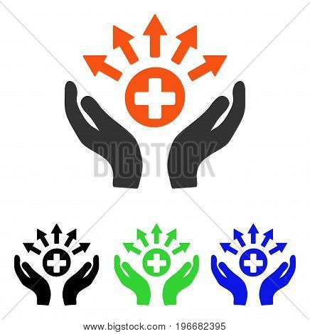 Medical Distribution Care Hands vector pictogram. Illustration style is a flat iconic colored symbol with different color versions.